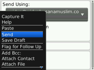menu send blackberry sudah muncul