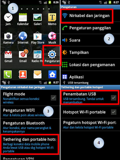 langkah tethering android