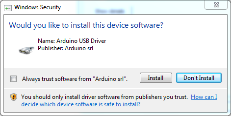 Cara Menginstal Software IDE Arduino-Windows Security-USB driver
