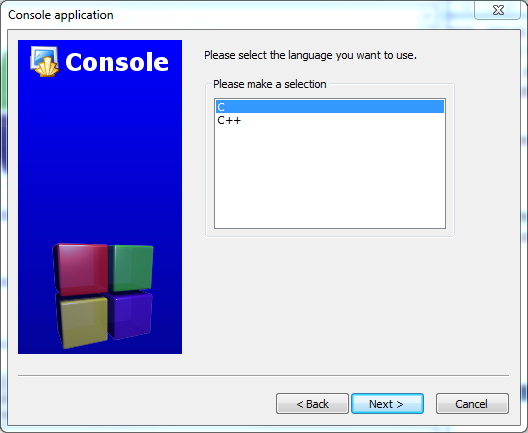 code blocks-Console application-bahasa c