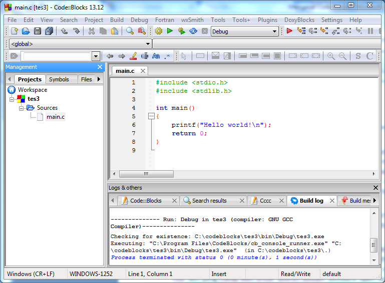 helloworld dengan codeblocks