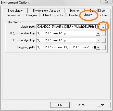 tool - environtment option delphi 7