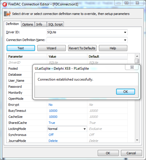 FireDAC Connection Editor - [FDConnection1] - connection establish successfully