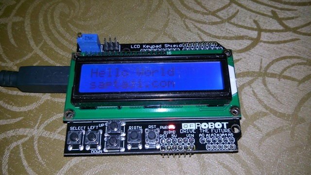 menampilkan hello world di lcd shield arduino