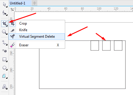 pilih virtual segment delete tool di corel draw x7 - bag 3 potong object